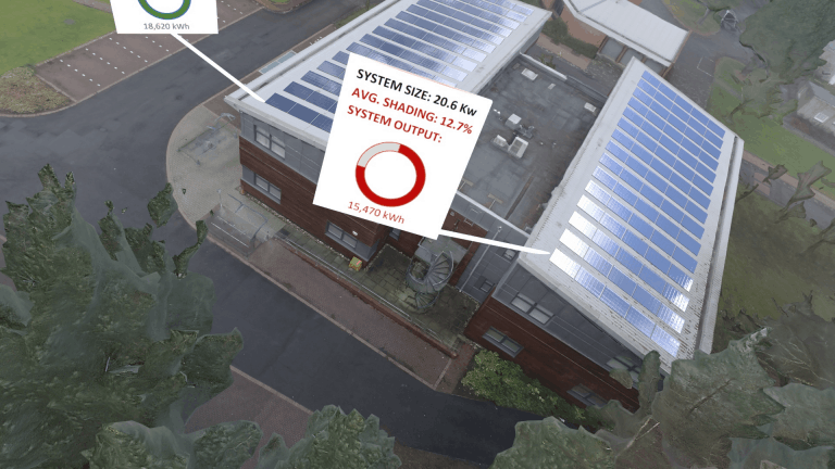 Integrated Energy Systems building from above. Using augmented reality to show floating information boxes.